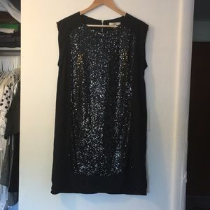 Black shift dress with sequins